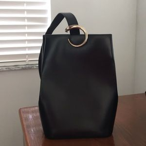 CARTIER Panthere Vintage Black Leather Sling Bag
